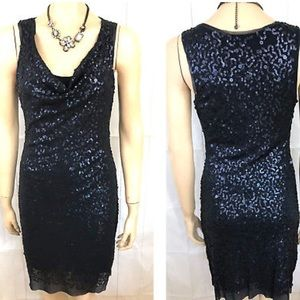 Max Studio Blue Sequin Cocktail Dress M